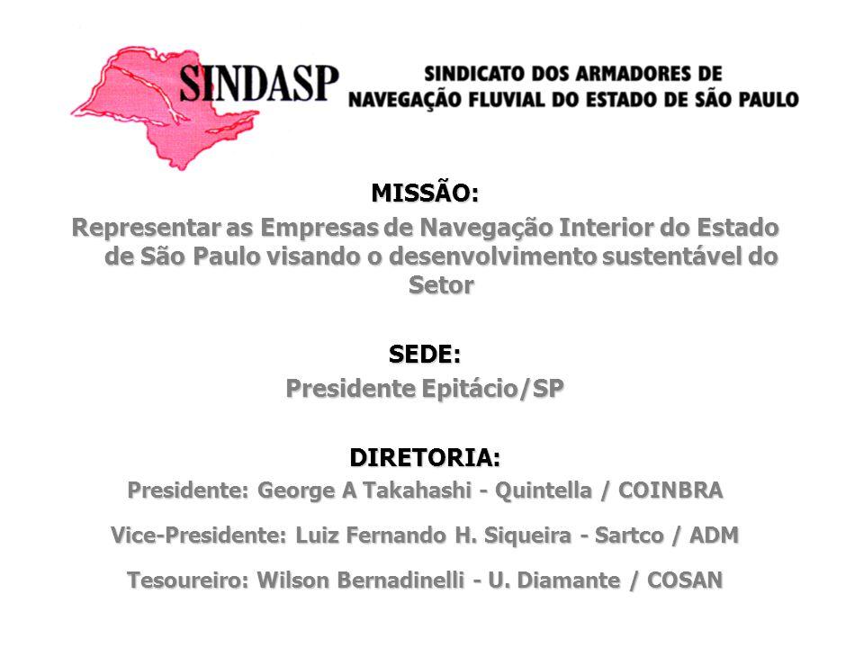 MISSÃO: Representar as Empresas de Navegação Interior do Estado de São Paulo visando o desenvolvimento sustentável do Setor SEDE: Presidente Epitácio/
