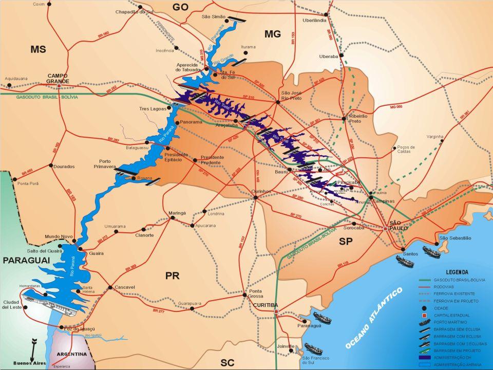Características: 2400 km de vias navegáveis Capacidade projetada : 20 milhões ton/ano; TRAMO RIO TIETÊ: 06 eclusas e 16 pontes; TRAMO NORTE RIO PARANÁ: Sem eclusas e 02 pontes; TRAMO SUL RIO PARANÁ: 02 eclusas e 05 pontes; Dimensões das eclusas do TRAMO RIO TIETÊ: 142 m x 12 m Dimensões das eclusas do TRAMO RIO PARANÁ: 210m X 17 m TRAMO RIO TIETÊ e TRAMO NORTE RIO PARANÁ: Calado operacional de 2,80 metros, podendo chegar a 3,00 metros em épocas de cheia; TRAMO SUL RIO PARANÁ: Calado operacional de 1,60 / 1,80 metros, devido a pontos altos entre Guairá/PR e UHE Porto Primavera Hidrovia Tietê-Paraná