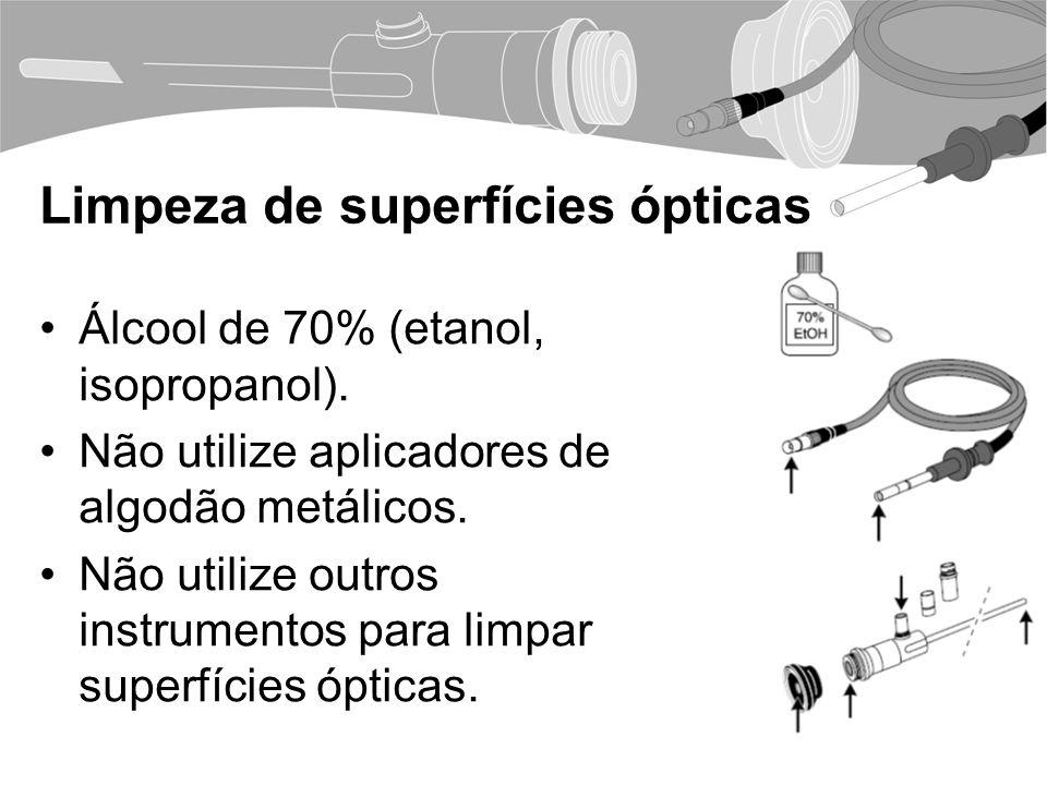 Limpeza de superfícies ópticas Álcool de 70% (etanol, isopropanol).