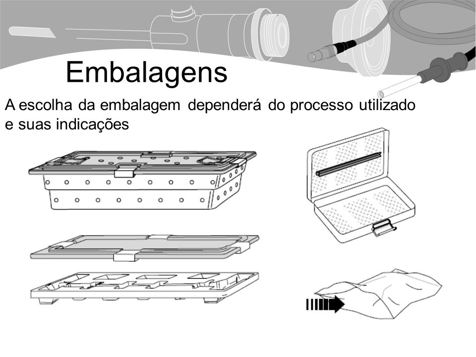Embalagens A escolha da embalagem dependerá do processo utilizado e suas indicações