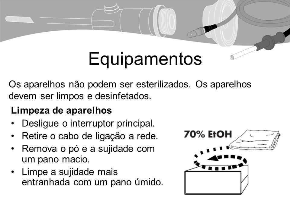 Equipamentos Limpeza de aparelhos Desligue o interruptor principal.