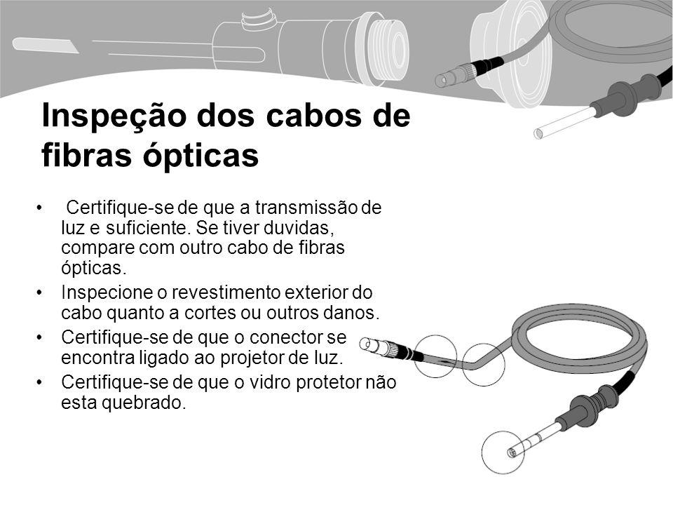 Inspeção dos cabos de fibras ópticas Certifique-se de que a transmissão de luz e suficiente.