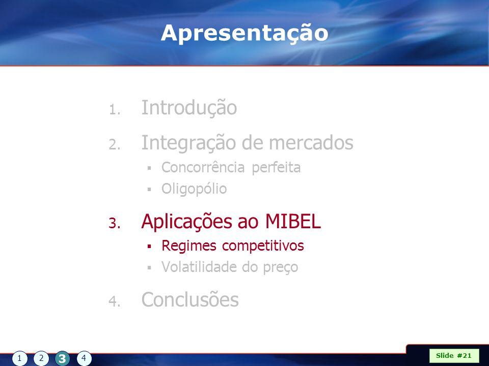 Apresentação 1. Introdução 2. Integração de mercados Concorrência perfeita Oligopólio 3. Aplicações ao MIBEL Regimes competitivos Volatilidade do preç