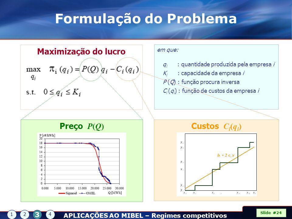 em que: q i : quantidade produzida pela empresa i K i : capacidade da empresa i P (Q) : função procura inversa C i (q i ) : função de custos da empres