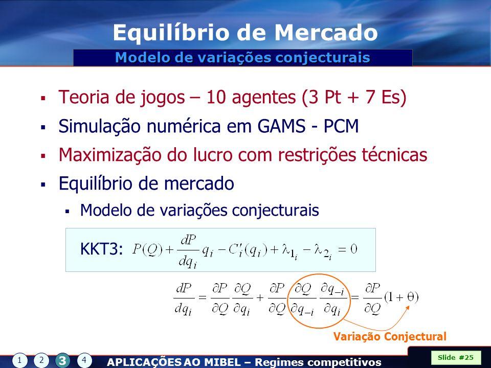 Equilíbrio de Mercado Teoria de jogos – 10 agentes (3 Pt + 7 Es) Simulação numérica em GAMS - PCM Maximização do lucro com restrições técnicas Equilíb