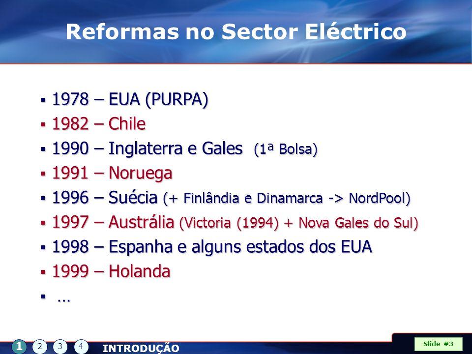 1978 – EUA (PURPA) 1978 – EUA (PURPA) 1982 – Chile 1982 – Chile 1990 – Inglaterra e Gales (1ª Bolsa) 1990 – Inglaterra e Gales (1ª Bolsa) 1991 – Norue