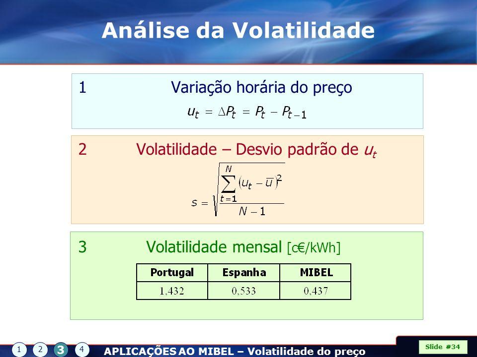 1 Variação horária do preço 2 Volatilidade – Desvio padrão de u t 3 Volatilidade mensal [c/kWh] Slide #34 12 3 4 APLICAÇÕES AO MIBEL – Volatilidade do