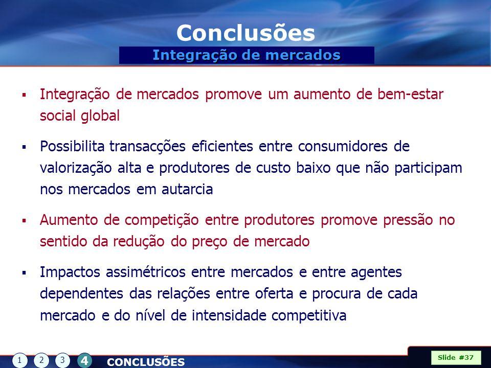 Conclusões Integração de mercados promove um aumento de bem-estar social global Possibilita transacções eficientes entre consumidores de valorização a