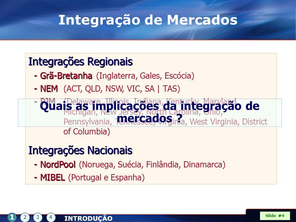 Slide #4 INTRODUÇÃO 1 234 Integração de Mercados Integrações Regionais - Grã-Bretanha - Grã-Bretanha (Inglaterra, Gales, Escócia) - NEM - NEM (ACT, QL