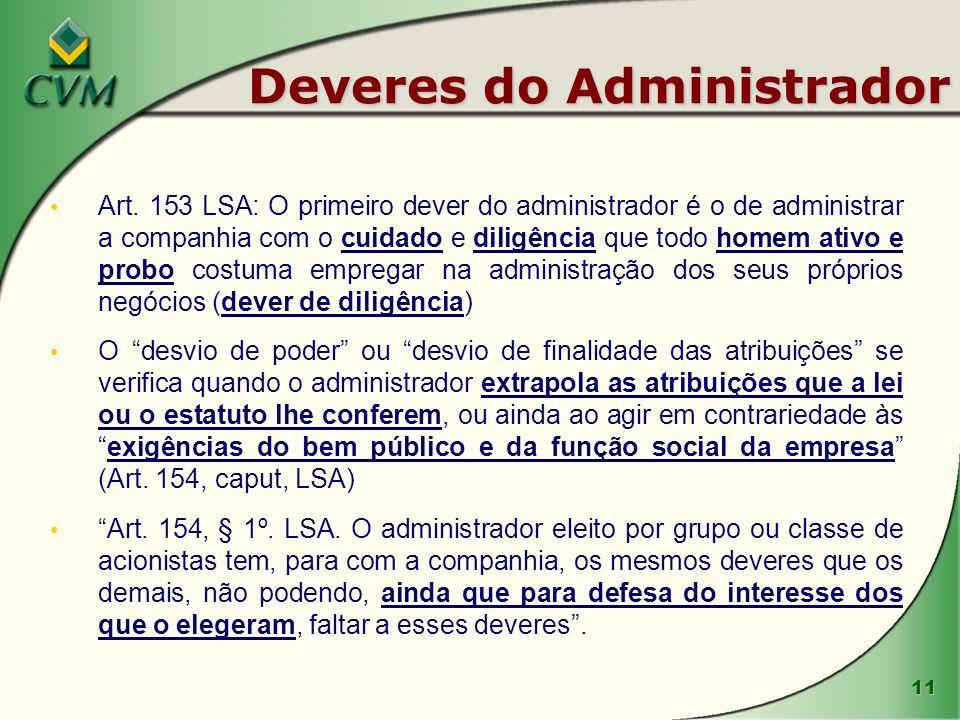 11 Deveres do Administrador Art. 153 LSA: O primeiro dever do administrador é o de administrar a companhia com o cuidado e diligência que todo homem a
