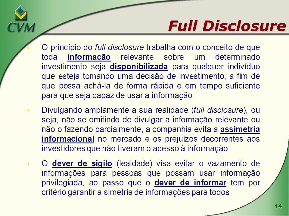 14 Full Disclosure O princípio do full disclosure trabalha com o conceito de que toda informação relevante sobre um determinado investimento seja disp