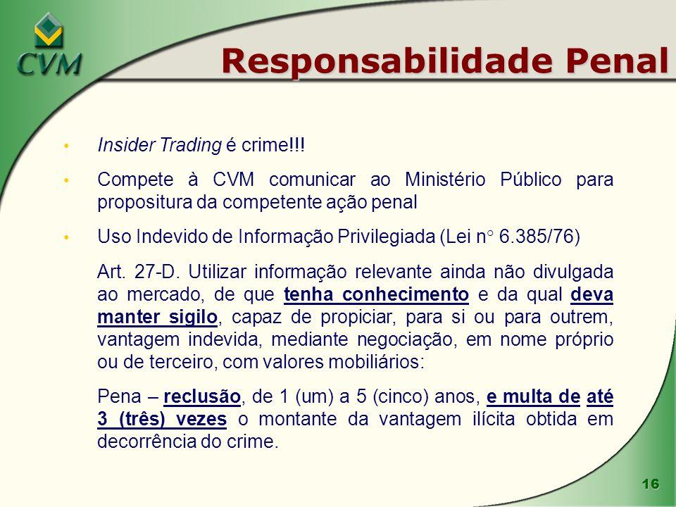 16 Responsabilidade Penal Insider Trading é crime!!! Compete à CVM comunicar ao Ministério Público para propositura da competente ação penal Uso Indev
