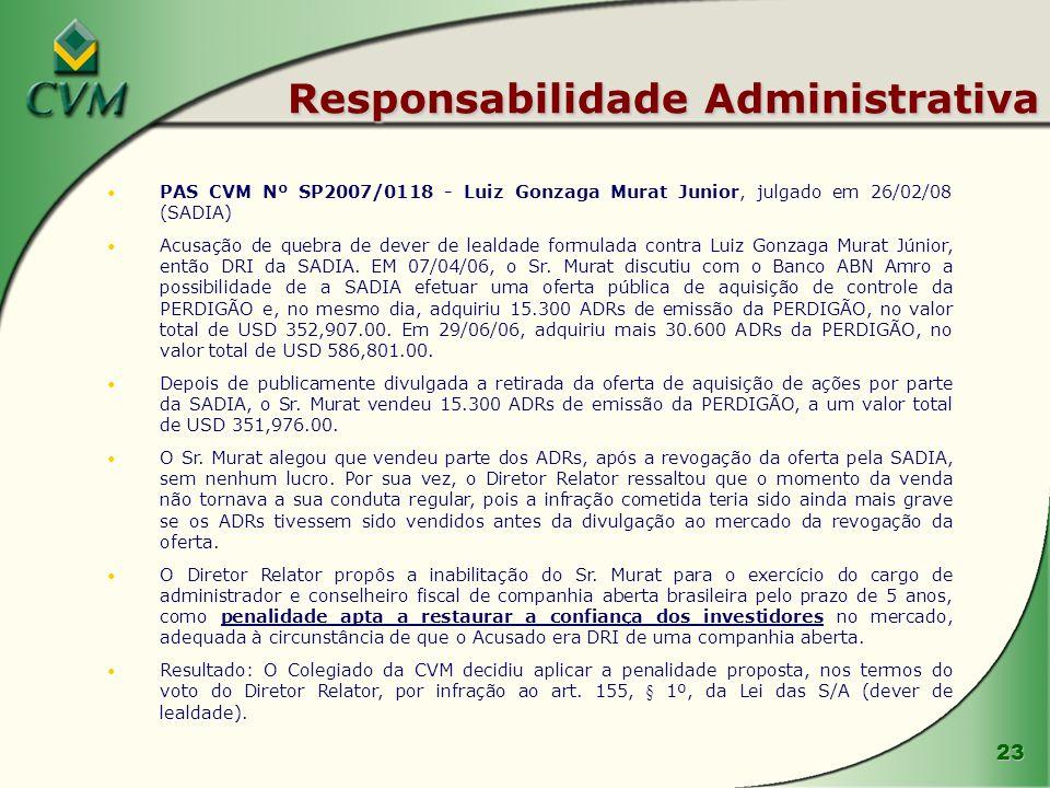 23 Responsabilidade Administrativa PAS CVM Nº SP2007/0118 - Luiz Gonzaga Murat Junior, julgado em 26/02/08 (SADIA) Acusação de quebra de dever de leal