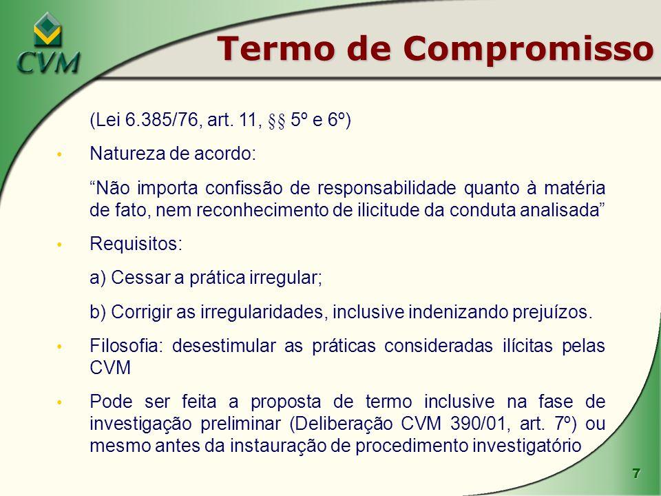 7 Termo de Compromisso (Lei 6.385/76, art. 11, §§ 5º e 6º) Natureza de acordo: Não importa confissão de responsabilidade quanto à matéria de fato, nem