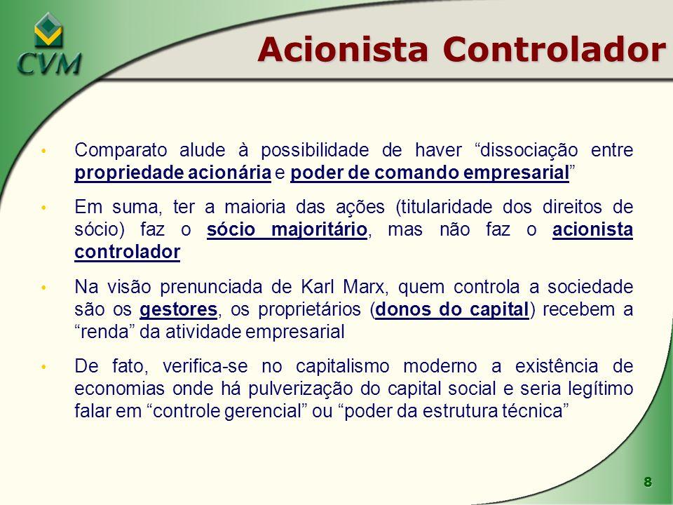 8 Acionista Controlador Comparato alude à possibilidade de haver dissociação entre propriedade acionária e poder de comando empresarial Em suma, ter a