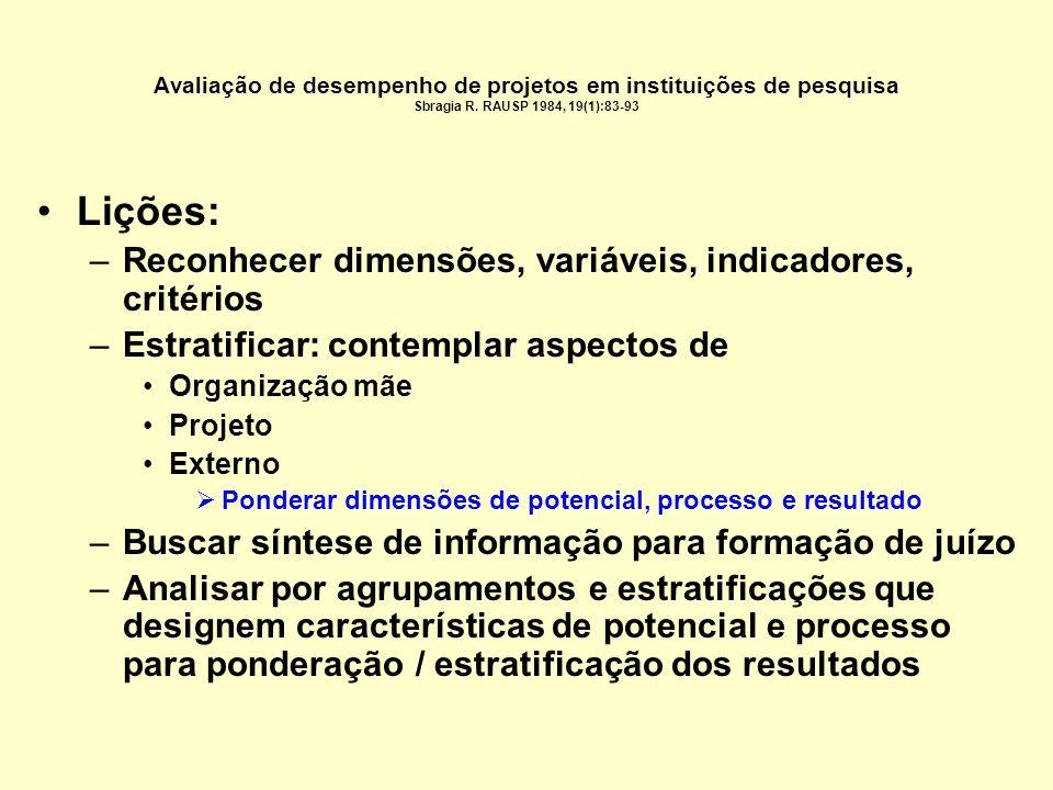 Estratificações segundo categorias de projetos 4.Características do gerente do projeto 1.Cargo funcional na organização 2.Experiência (nº anos como lí