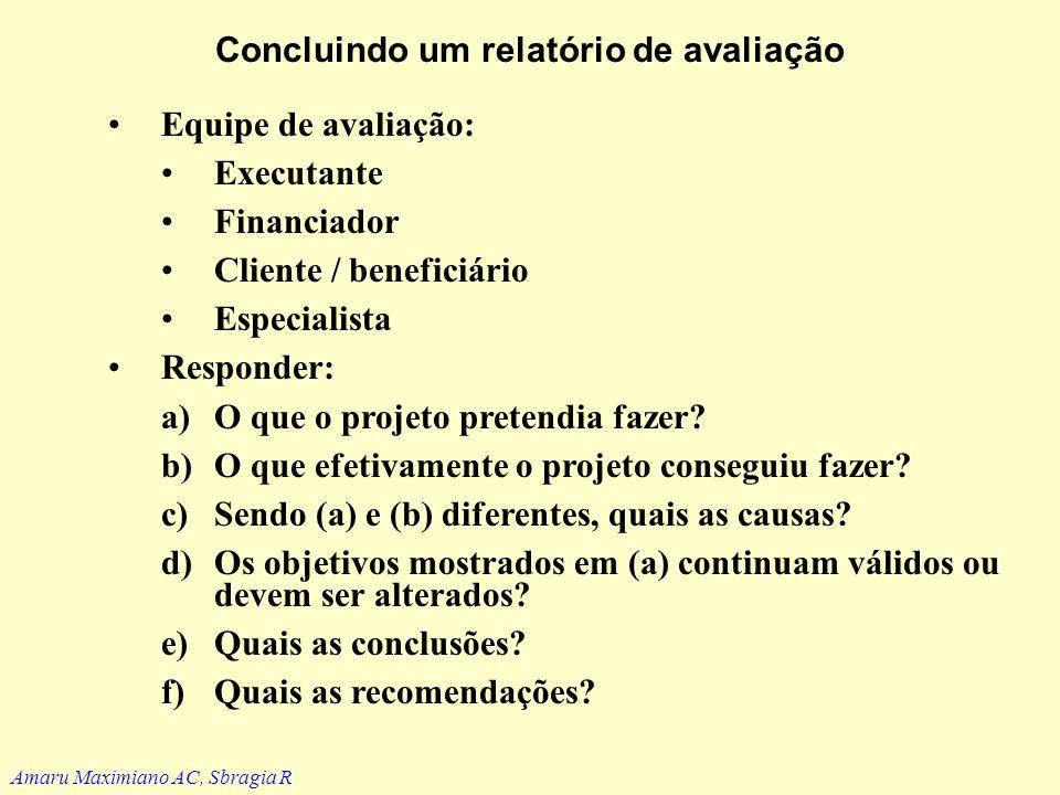Exemplo: questionários Fatores de êxito12345 Ambiente externo 1. 2. n Organização mãe 1. 2. n Organização do projeto 1. 2. n Amaru Maximiano AC, Sbrag