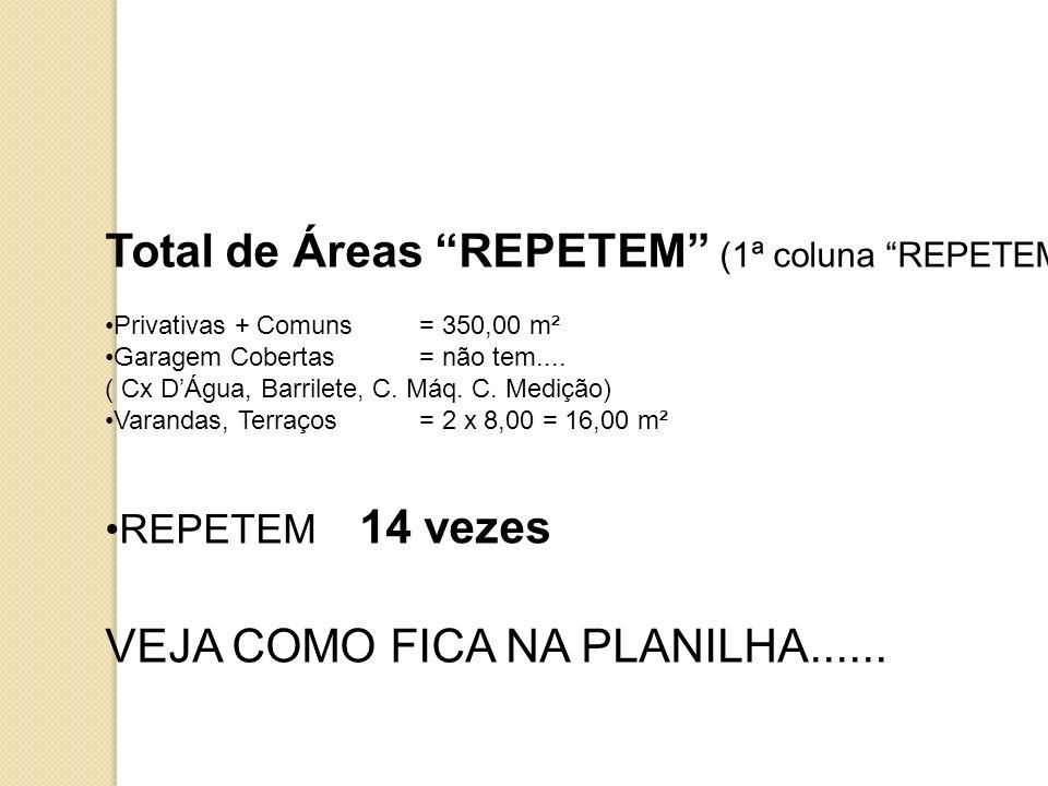 Total de Áreas REPETEM (1ª coluna REPETEM): Privativas + Comuns= 350,00 m² Garagem Cobertas= não tem.... ( Cx DÁgua, Barrilete, C. Máq. C. Medição) Va