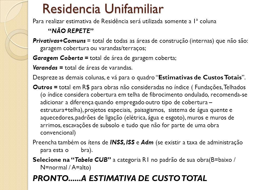 Residencia Unifamiliar Para realizar estimativa de Residência será utilizada somente a 1ª coluna NÃO REPETE Privativas+Comuns = total de todas as área