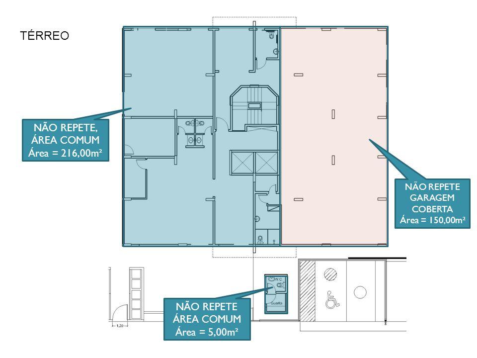NÃO REPETE, GARAGEM COBERTA (não é garagem, mas se considera nesta coluna em função da semelhança de custo de construção) Área = 50,00m² ÁTICO / COBERTURA / BARRILETE / CASA DE MÁQUINAS