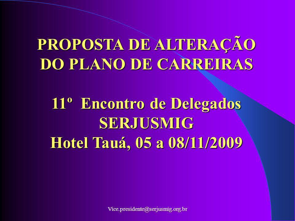Vice.presidente@serjusmig.org.br PROPOSTA DE ALTERAÇÃO DO PLANO DE CARREIRAS 11º Encontro de Delegados SERJUSMIG Hotel Tauá, 05 a 08/11/2009