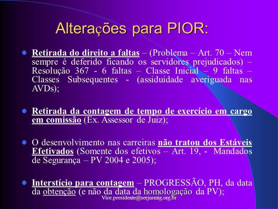 Vice.presidente@serjusmig.org.br Altera ç ões para PIOR: Retirada do direito a faltas – (Problema – Art. 70 – Nem sempre é deferido ficando os servido