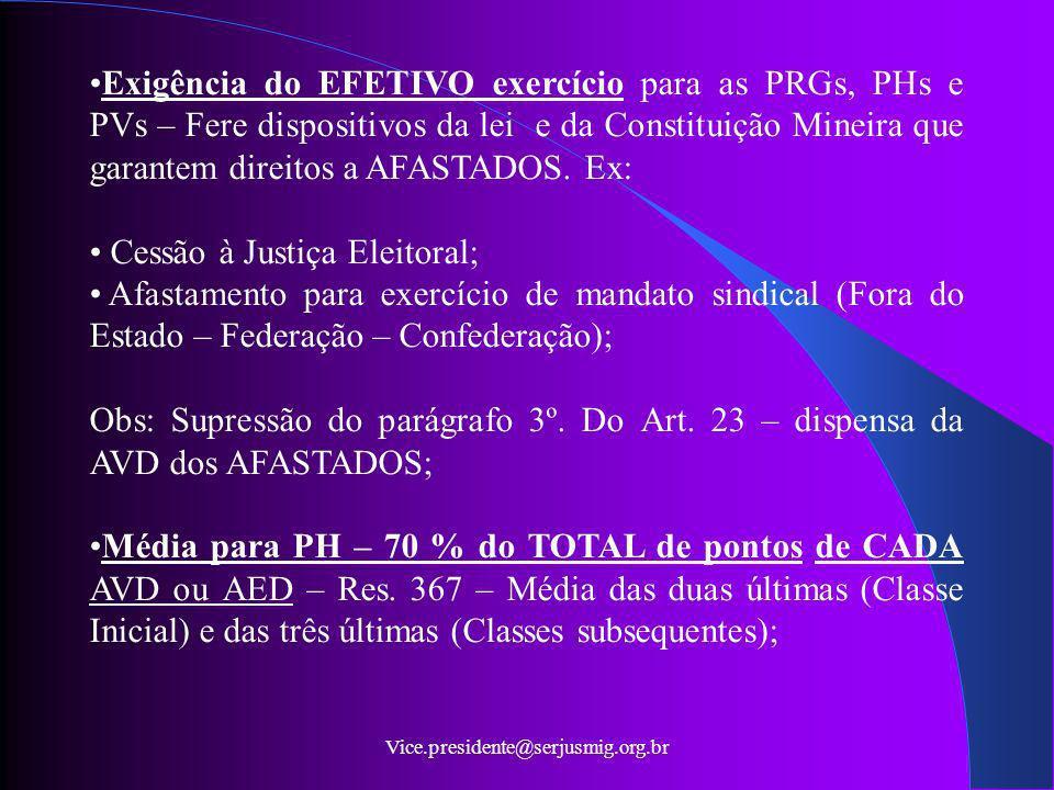 Vice.presidente@serjusmig.org.br Exigência do EFETIVO exercício para as PRGs, PHs e PVs – Fere dispositivos da lei e da Constituição Mineira que garan