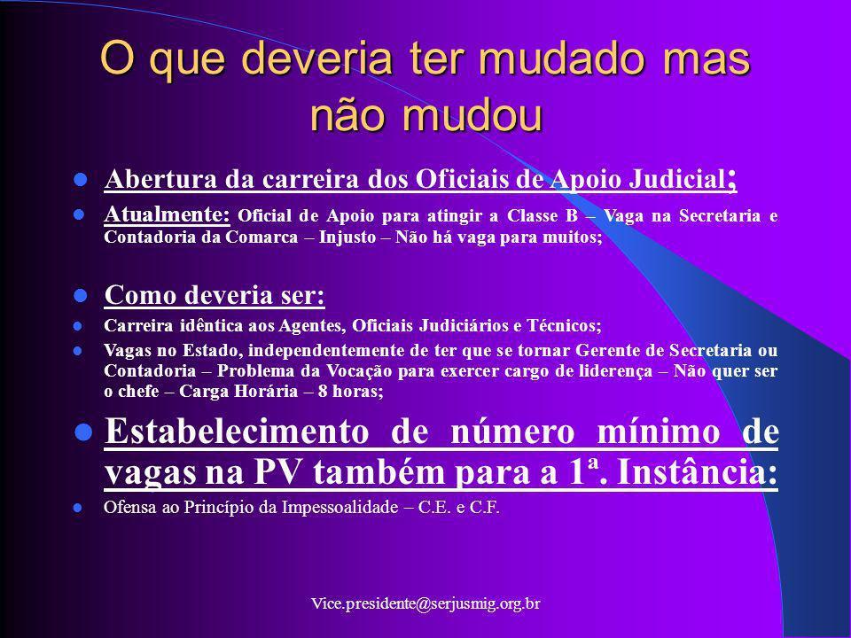Vice.presidente@serjusmig.org.br O que deveria ter mudado mas não mudou Abertura da carreira dos Oficiais de Apoio Judicial ; Atualmente: Oficial de A