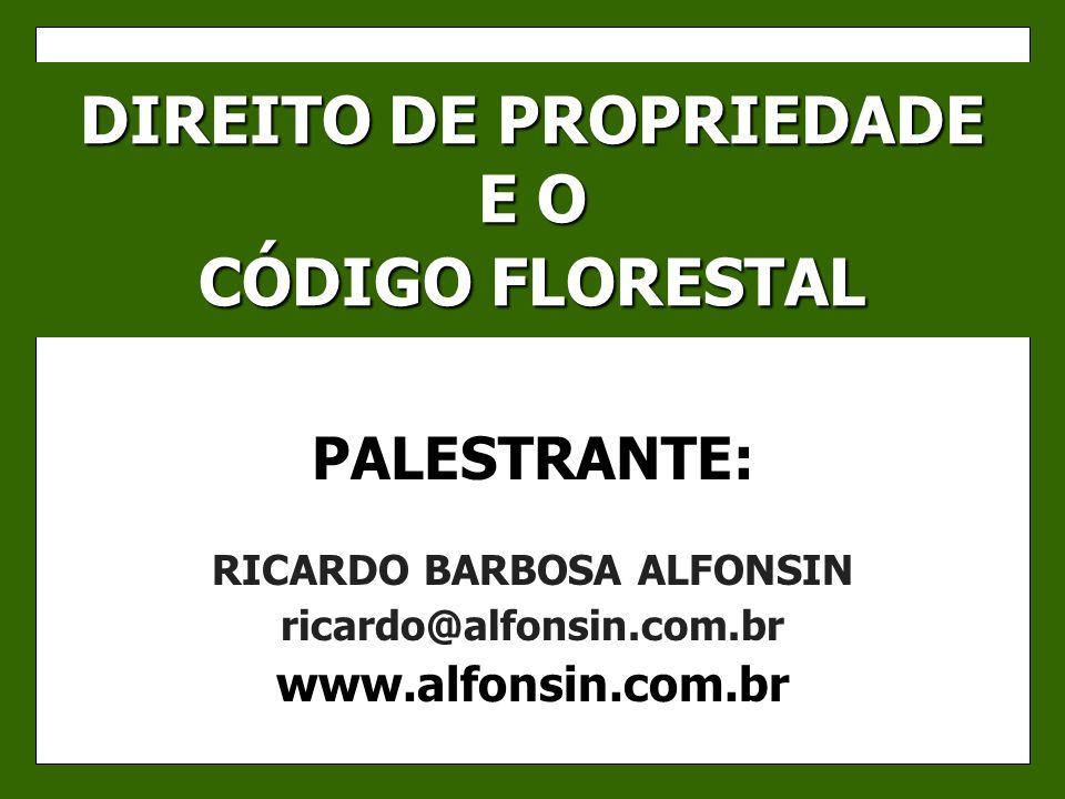 DIREITO DE PROPRIEDADE E O CÓDIGO FLORESTAL PALESTRANTE: RICARDO BARBOSA ALFONSIN ricardo@alfonsin.com.br www.alfonsin.com.br