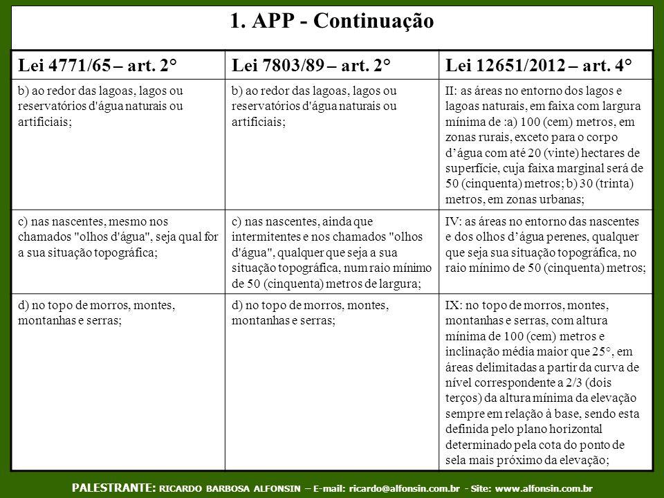 1. APP - Continuação Lei 4771/65 – art. 2°Lei 7803/89 – art. 2°Lei 12651/2012 – art. 4° b) ao redor das lagoas, lagos ou reservatórios d'água naturais