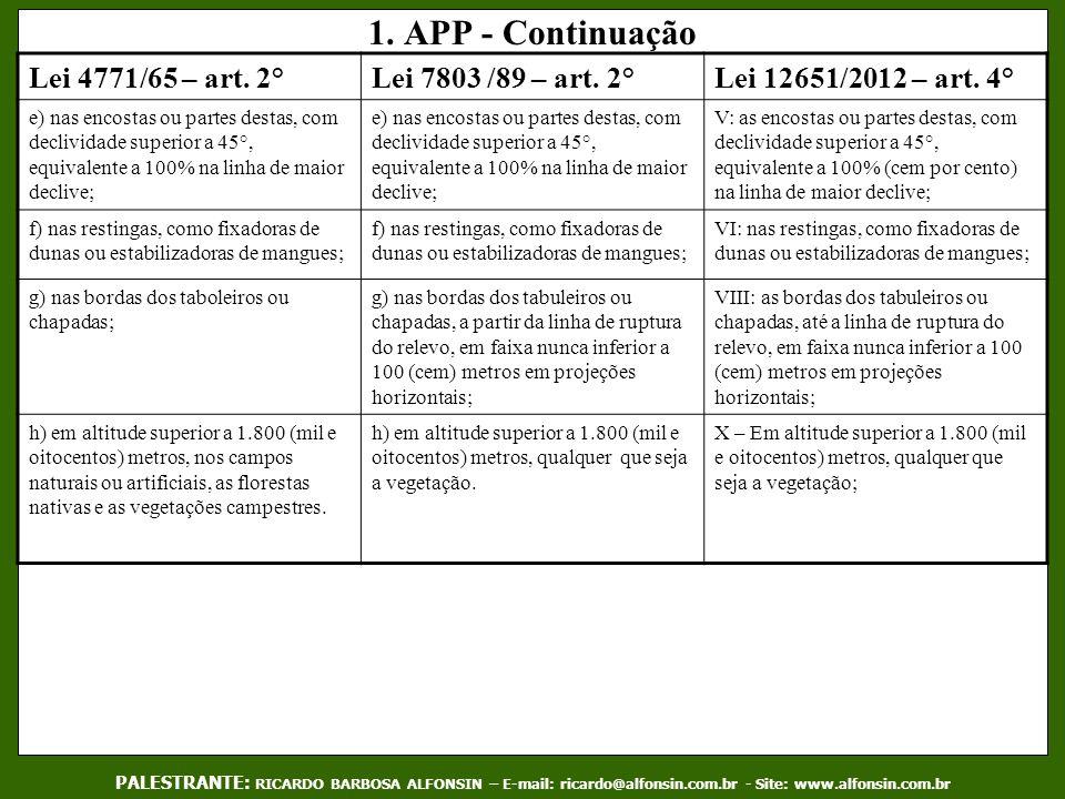 1. APP - Continuação Lei 4771/65 – art. 2°Lei 7803 /89 – art. 2°Lei 12651/2012 – art. 4° e) nas encostas ou partes destas, com declividade superior a