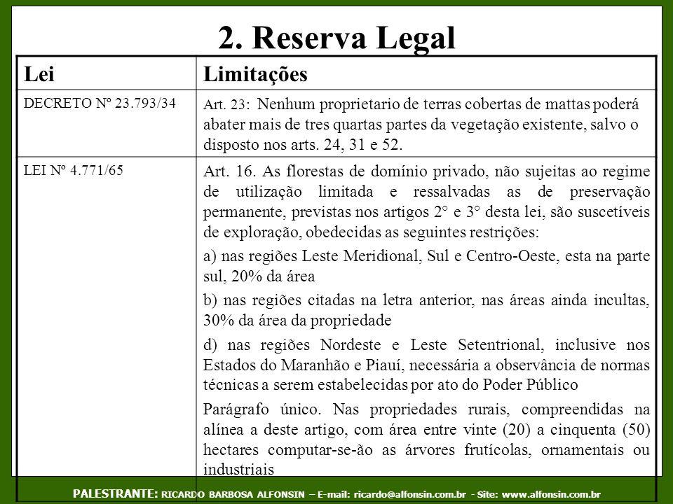2. Reserva Legal PALESTRANTE: RICARDO BARBOSA ALFONSIN – E-mail: ricardo@alfonsin.com.br - Site: www.alfonsin.com.br LeiLimitações DECRETO Nº 23.793/3