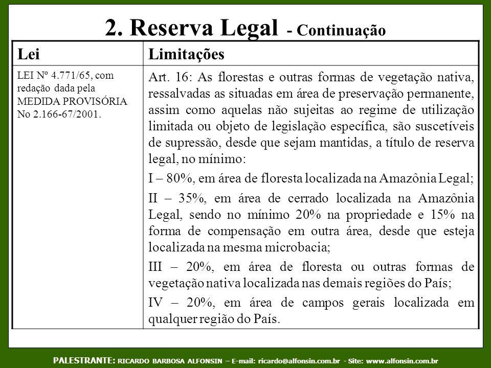 2. Reserva Legal - Continuação PALESTRANTE: RICARDO BARBOSA ALFONSIN – E-mail: ricardo@alfonsin.com.br - Site: www.alfonsin.com.br LeiLimitações LEI N