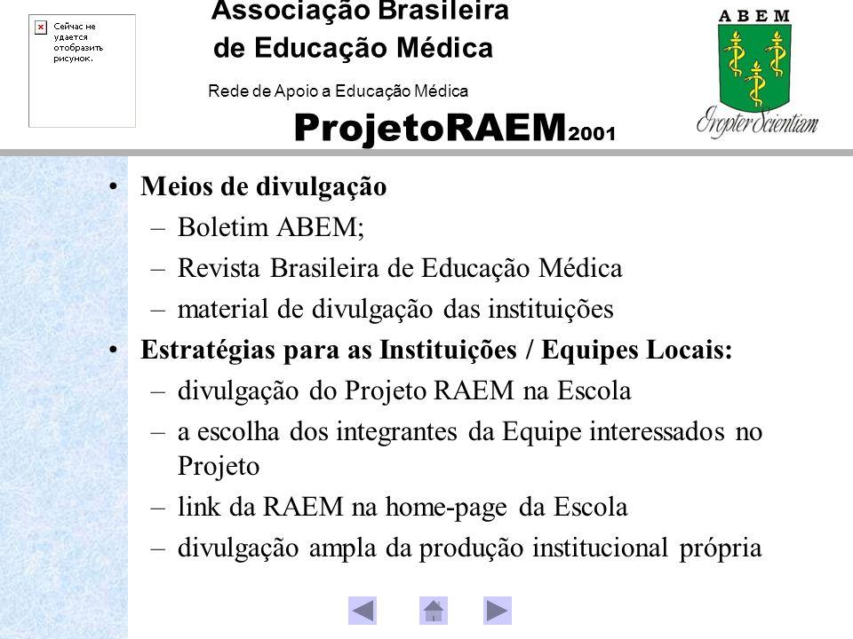 Meios de divulgação –Boletim ABEM; –Revista Brasileira de Educação Médica –material de divulgação das instituições Estratégias para as Instituições /
