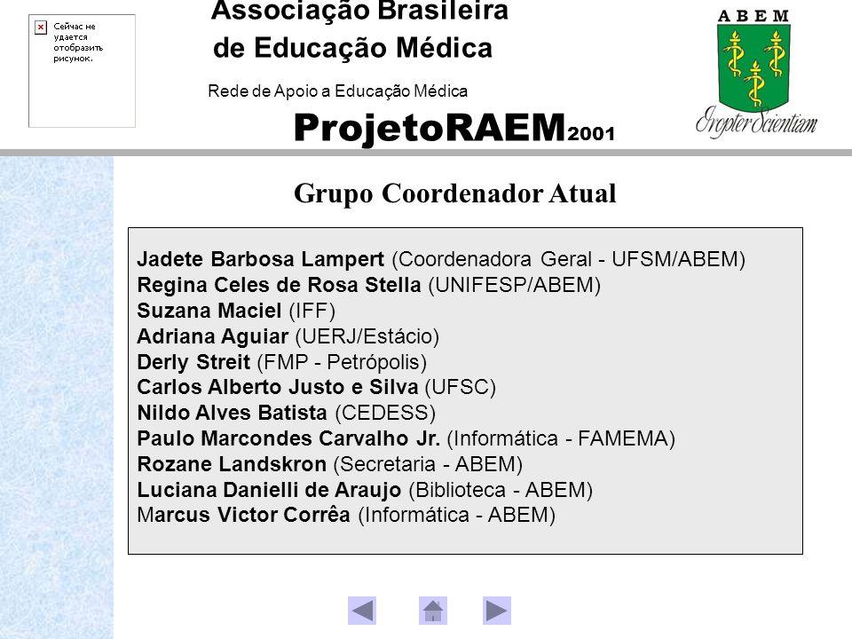 Associação Brasileira de Educação Médica Rede de Apoio a Educação Médica ProjetoRAEM 2001 Jadete Barbosa Lampert (Coordenadora Geral - UFSM/ABEM) Regi