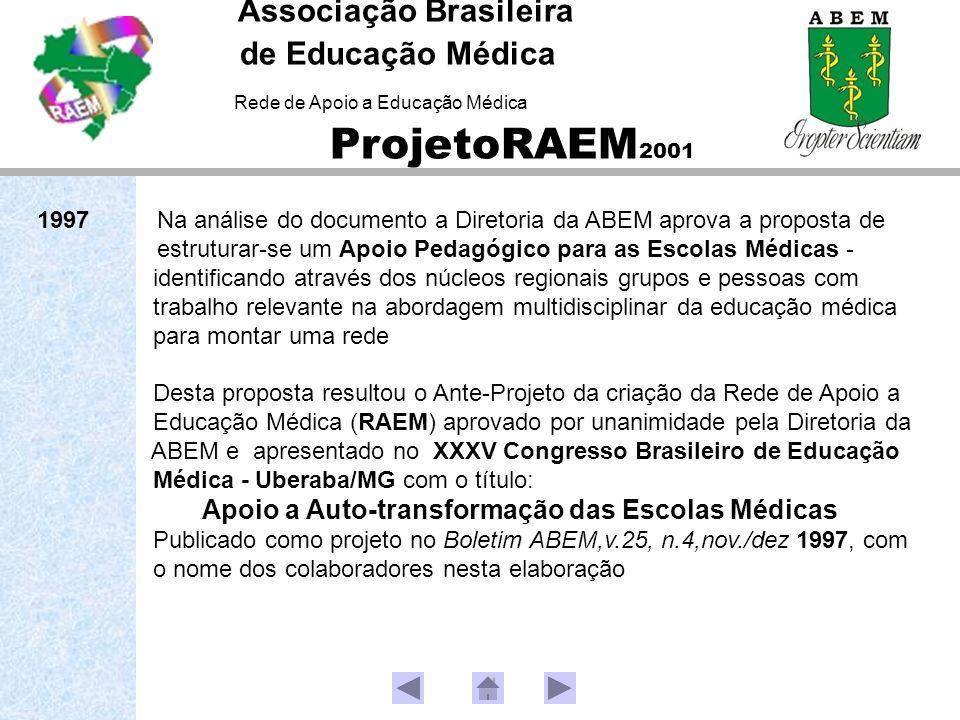 Associação Brasileira de Educação Médica Rede de Apoio a Educação Médica ProjetoRAEM 2001 1997 Na análise do documento a Diretoria da ABEM aprova a proposta de estruturar-se um Apoio Pedagógico para as Escolas Médicas - identificando através dos núcleos regionais grupos e pessoas com trabalho relevante na abordagem multidisciplinar da educação médica para montar uma rede Desta proposta resultou o Ante-Projeto da criação da Rede de Apoio a Educação Médica (RAEM) aprovado por unanimidade pela Diretoria da ABEM e apresentado no XXXV Congresso Brasileiro de Educação Médica - Uberaba/MG com o título: Apoio a Auto-transformação das Escolas Médicas Publicado como projeto no Boletim ABEM,v.25, n.4,nov./dez 1997, com o nome dos colaboradores nesta elaboração