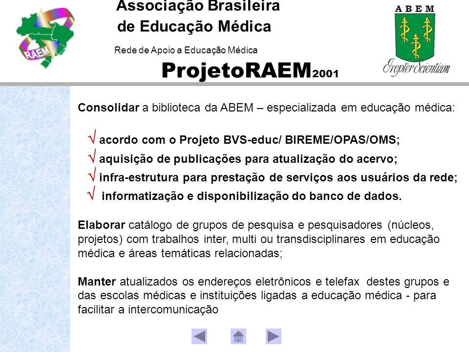 Consolidar a biblioteca da ABEM – especializada em educação médica: acordo com o Projeto BVS-educ/ BIREME/OPAS/OMS; aquisição de publicações para atua