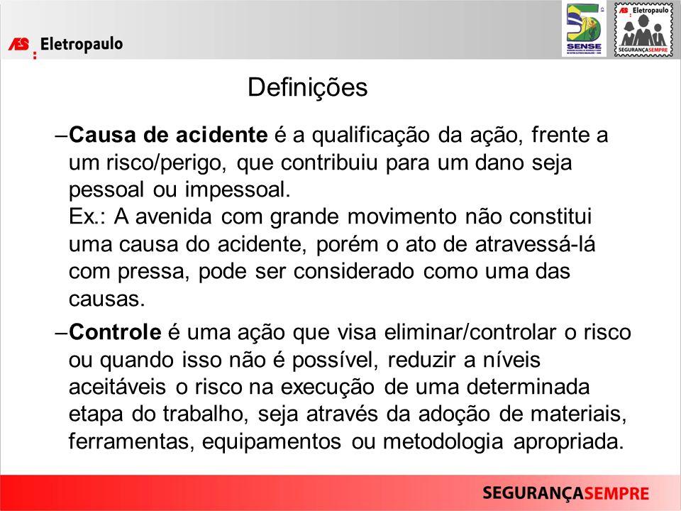 Definições –Causa de acidente é a qualificação da ação, frente a um risco/perigo, que contribuiu para um dano seja pessoal ou impessoal.