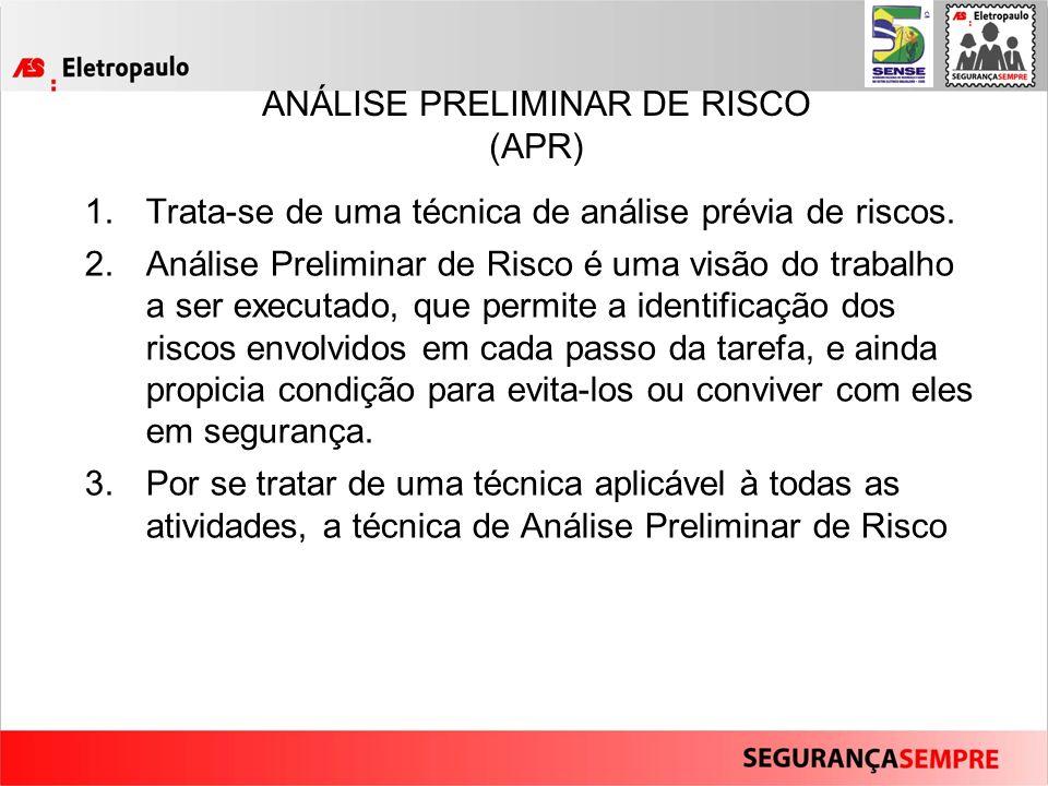 ANÁLISE PRELIMINAR DE RISCO (APR) 1.Trata-se de uma técnica de análise prévia de riscos.