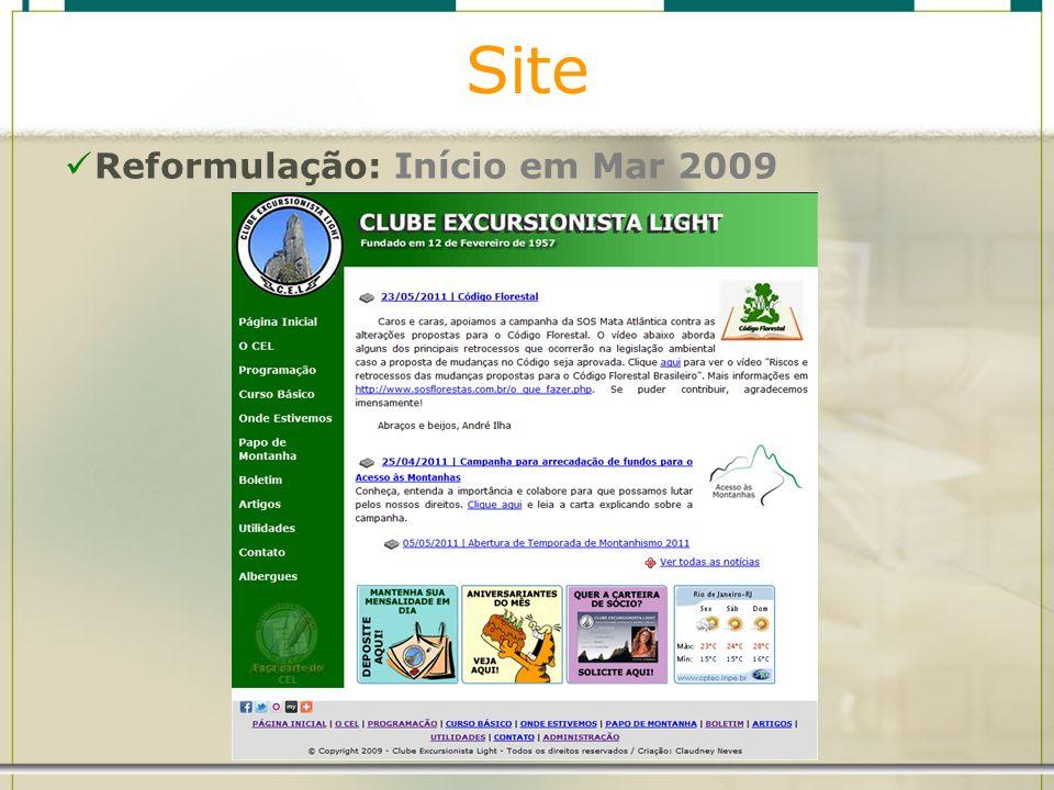 Site Reformulação: Início em Mar 2009