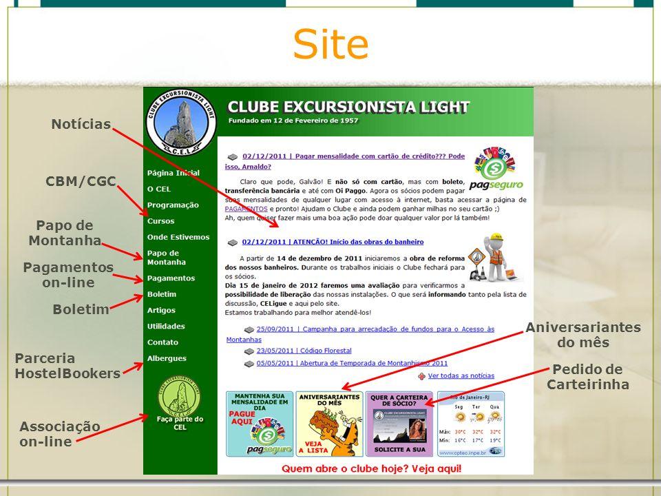 Site Notícias CBM/CGC Papo de Montanha Pagamentos on-line Boletim Parceria HostelBookers Aniversariantes do mês Associação on-line Pedido de Carteirin