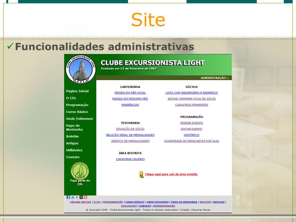 Site Funcionalidades administrativas