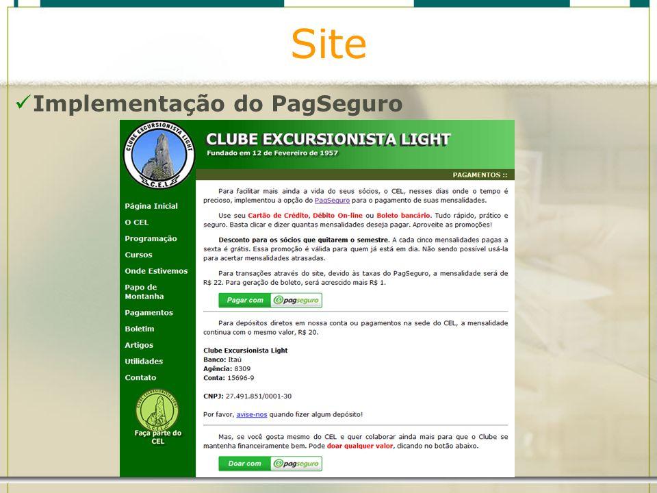 Site Implementação do PagSeguro