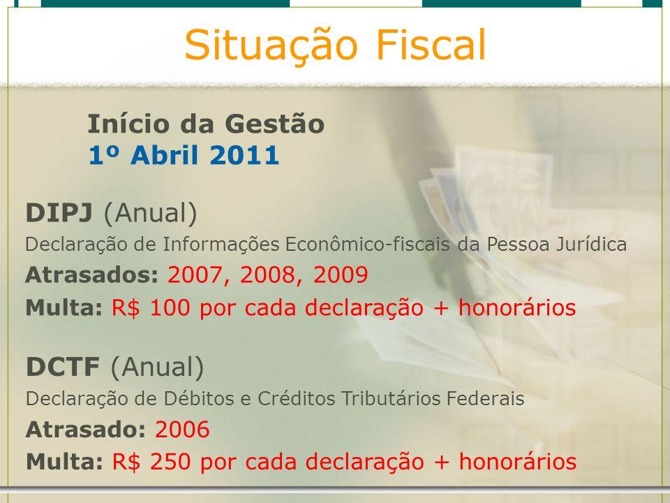 Situação Fiscal Início da Gestão 1º Abril 2011 DIPJ (Anual) Declaração de Informações Econômico-fiscais da Pessoa Jurídica Atrasados: 2007, 2008, 2009