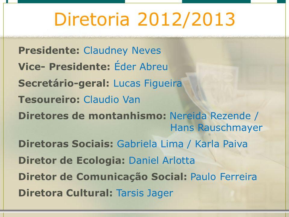 Diretoria 2012/2013 Presidente: Claudney Neves Vice- Presidente: Éder Abreu Secretário-geral: Lucas Figueira Tesoureiro: Claudio Van Diretores de mont