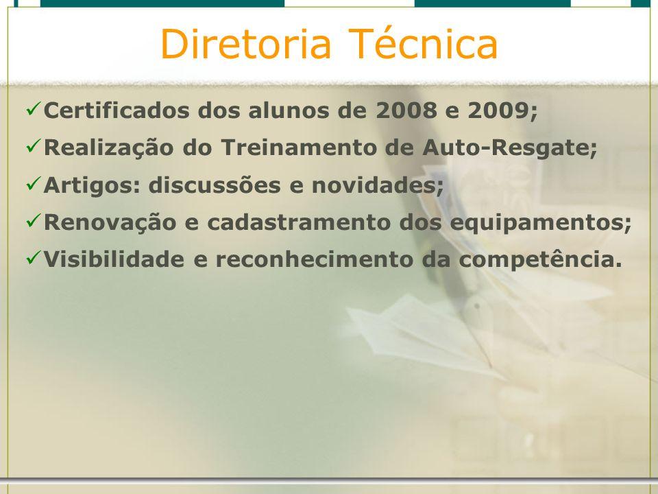 Diretoria Técnica Certificados dos alunos de 2008 e 2009; Realização do Treinamento de Auto-Resgate; Artigos: discussões e novidades; Renovação e cada