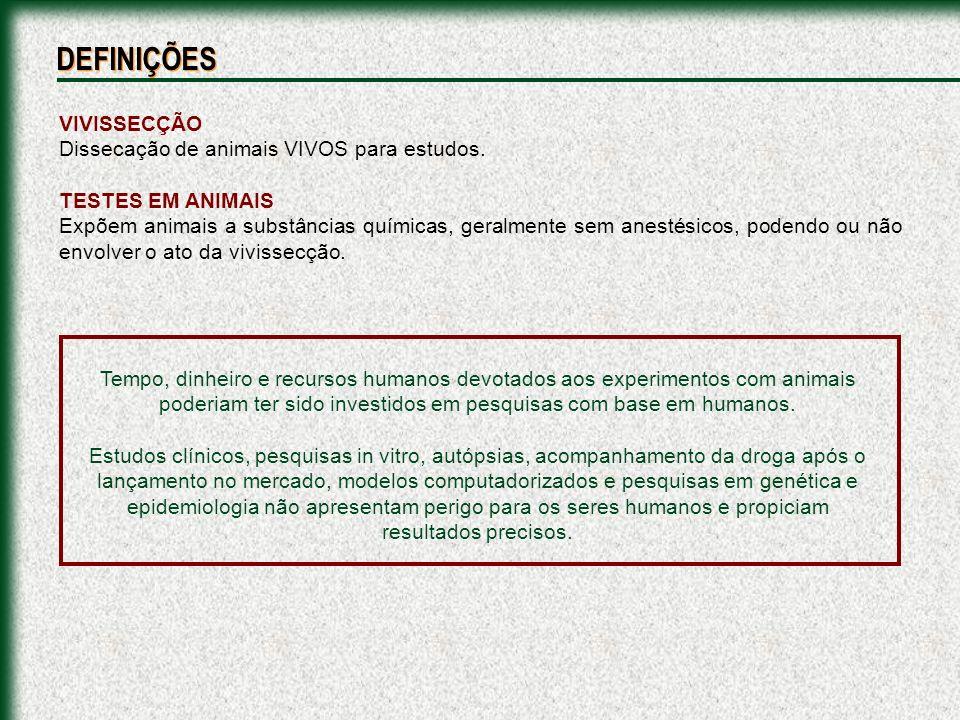 VIVISSECÇÃO Dissecação de animais VIVOS para estudos. TESTES EM ANIMAIS Expõem animais a substâncias químicas, geralmente sem anestésicos, podendo ou