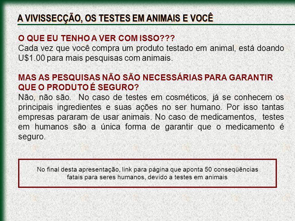 O QUE EU TENHO A VER COM ISSO??? Cada vez que você compra um produto testado em animal, está doando U$1.00 para mais pesquisas com animais. MAS AS PES