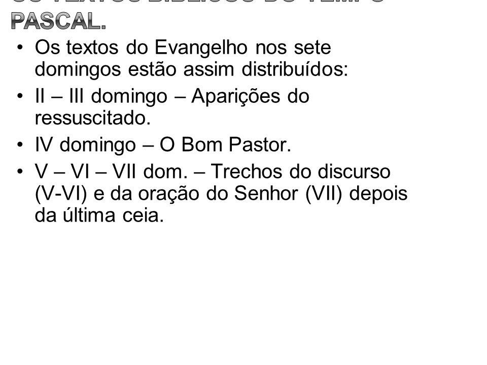 Os textos do Evangelho nos sete domingos estão assim distribuídos: II – III domingo – Aparições do ressuscitado. IV domingo – O Bom Pastor. V – VI – V
