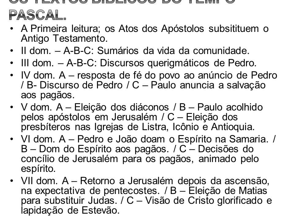 A Primeira leitura; os Atos dos Apóstolos subsitituem o Antigo Testamento. II dom. – A-B-C: Sumários da vida da comunidade. III dom. – A-B-C: Discurso